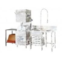 Nerūdijančiojo plieno stalas su plautuve ir anga atliekoms