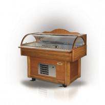 Šaldoma žuvies vitrina su integruotu ledukų generatoriumi